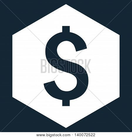 Dollar Hexagon vector icon. Style is flat symbol, white color, dark blue background.