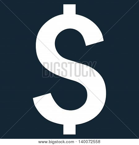 Dollar Symbol vector icon. Style is flat symbol, white color, dark blue background.