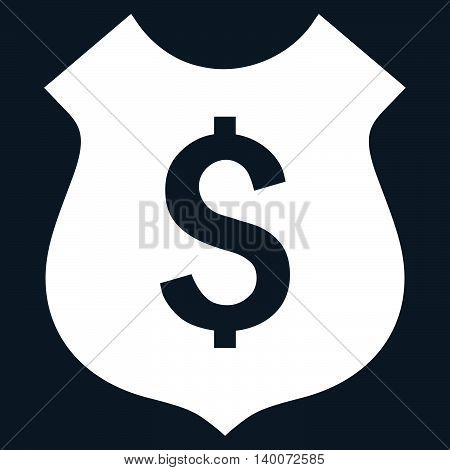Financial Shield vector icon. Style is flat symbol, white color, dark blue background.