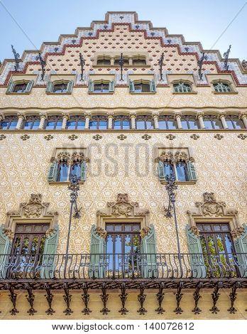BARCELONA SPAIN - JULY 5 2016: The facade of the Casa Amatller designed by Josep Puig i Cadafalch
