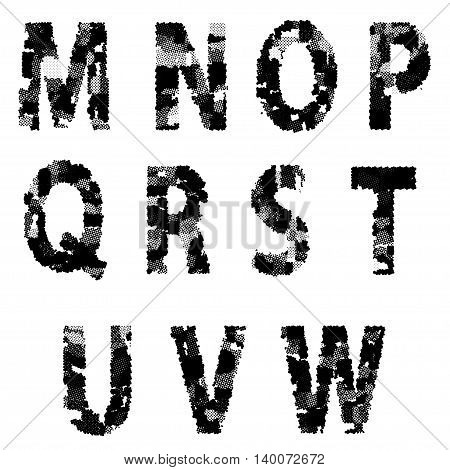 Alphabet Grunge Font Style. Letters made from Halftone Dots. EPS