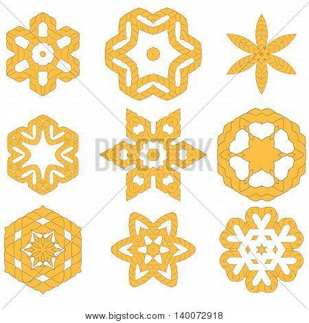 Set of Different Rope Ornaments Isolated on White Background