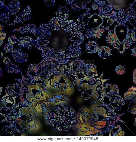abstract floral motley pattern on black background