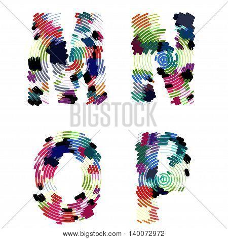 Bright creative cartoon comic radial alphabet Vector illustration EPS
