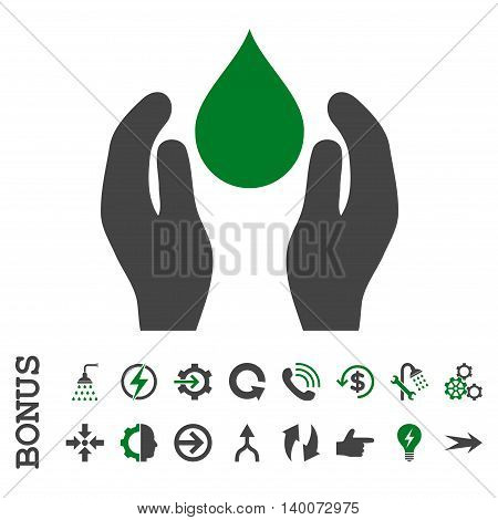 Water Care glyph bicolor icon. Image style is a flat pictogram symbol, green and gray colors, white background.