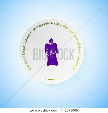 Environmental icons depicting candle with shadow, abstract vector illustration
