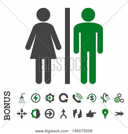 WC Persons glyph bicolor icon. Image style is a flat pictogram symbol, green and gray colors, white background.