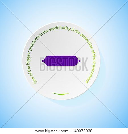 Environmental icons depicting sausage with shadow, abstract vector illustration
