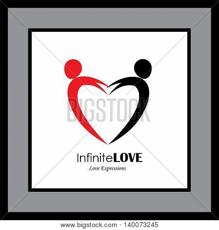 Vector Logo Icon Of Two People In Love Forming Heart Symbol