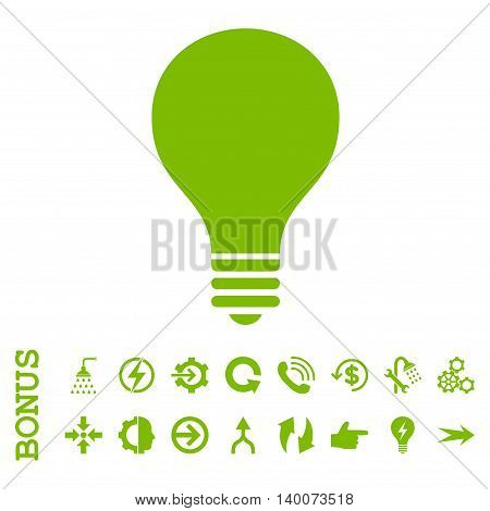 Bulb glyph icon. Image style is a flat iconic symbol, eco green color, white background.