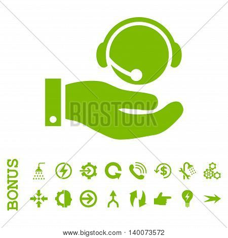Call Center Service glyph icon. Image style is a flat pictogram symbol, eco green color, white background.