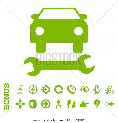 Car Repair glyph icon. Image style is a flat iconic symbol, eco green color, white background.
