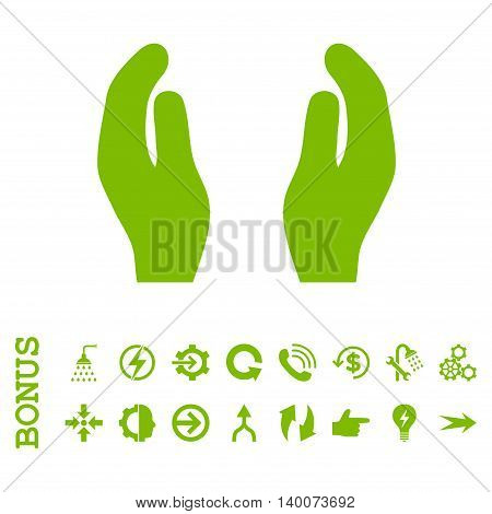 Care Hands glyph icon. Image style is a flat iconic symbol, eco green color, white background.