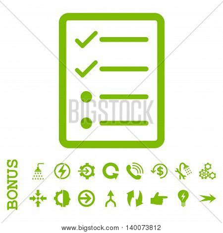 Checklist Page glyph icon. Image style is a flat pictogram symbol, eco green color, white background.