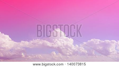 Bright pink gradient filter sky and clouds for background