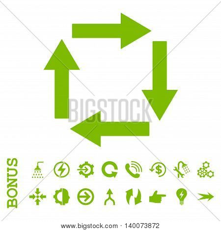 Circulation Arrows glyph icon. Image style is a flat pictogram symbol, eco green color, white background.