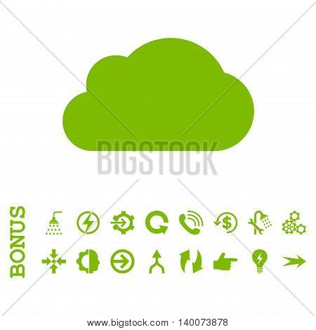 Cloud glyph icon. Image style is a flat iconic symbol, eco green color, white background.