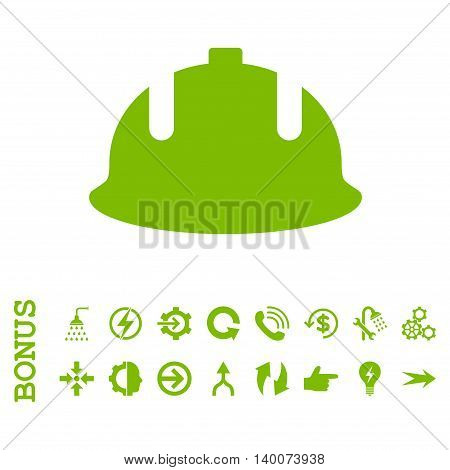 Construction Helmet glyph icon. Image style is a flat iconic symbol, eco green color, white background.