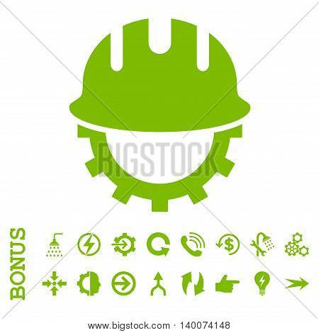 Development Hardhat glyph icon. Image style is a flat iconic symbol, eco green color, white background.