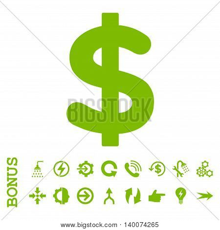 Dollar glyph icon. Image style is a flat pictogram symbol, eco green color, white background.