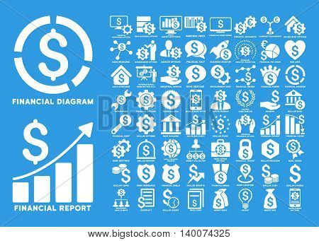 Dollar Finances Flat Vector Icons with Captions. Style is named white flat icons isolated on a blue background.