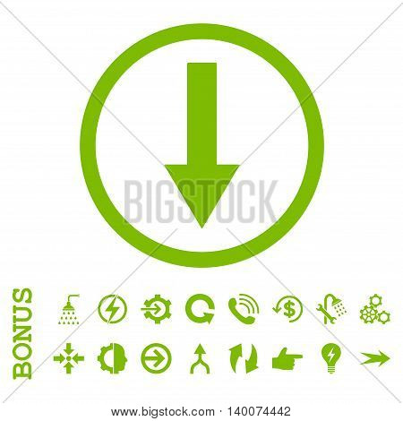 Down Rounded Arrow glyph icon. Image style is a flat iconic symbol, eco green color, white background.