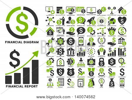 Dollar Finances Flat Vector Icons with Captions. Style is named bicolor eco green and gray flat icons isolated on a white background.
