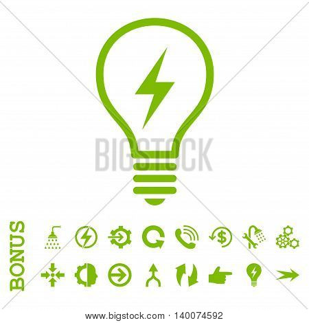 Electric Bulb glyph icon. Image style is a flat iconic symbol, eco green color, white background.