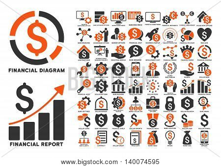 Dollar Finances Flat Vector Icons with Captions. Style is named bicolor orange and gray flat icons isolated on a white background.