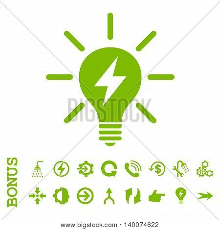 Electric Light Bulb glyph icon. Image style is a flat iconic symbol, eco green color, white background.