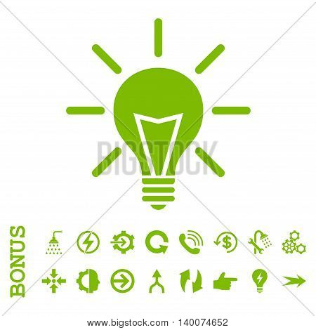 Electric Light glyph icon. Image style is a flat pictogram symbol, eco green color, white background.