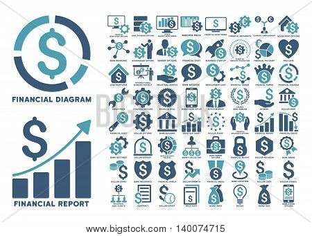 Dollar Finances Flat Vector Icons with Captions. Style is named bicolor cyan and blue flat icons isolated on a white background.