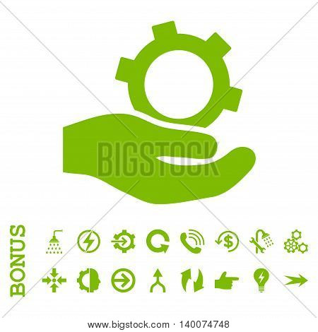 Engineering Service glyph icon. Image style is a flat pictogram symbol, eco green color, white background.