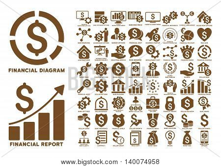 Dollar Finances Flat Vector Icons with Captions. Style is named brown flat icons isolated on a white background.