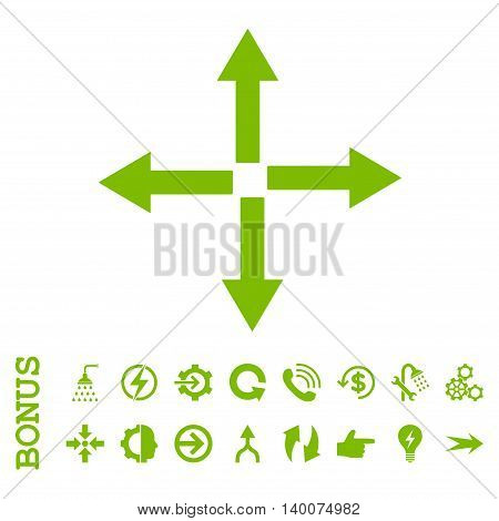 Expand Arrows glyph icon. Image style is a flat iconic symbol, eco green color, white background.