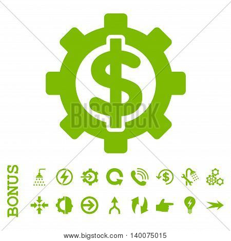 Financial Options glyph icon. Image style is a flat pictogram symbol, eco green color, white background.