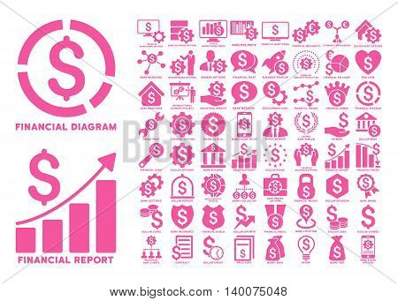 Dollar Finances Flat Vector Icons with Captions. Style is named pink flat icons isolated on a white background.