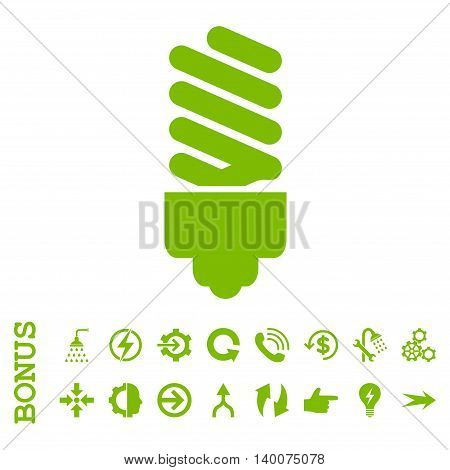 Fluorescent Bulb glyph icon. Image style is a flat pictogram symbol, eco green color, white background.