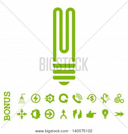 Fluorescent Bulb glyph icon. Image style is a flat iconic symbol, eco green color, white background.