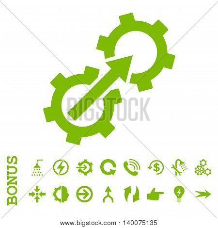 Gear Integration glyph icon. Image style is a flat pictogram symbol, eco green color, white background.
