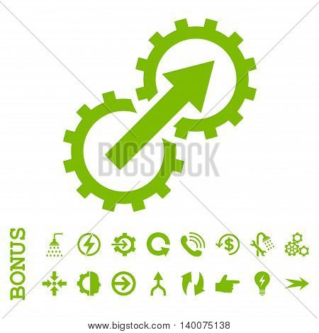 Gear Integration glyph icon. Image style is a flat iconic symbol, eco green color, white background.