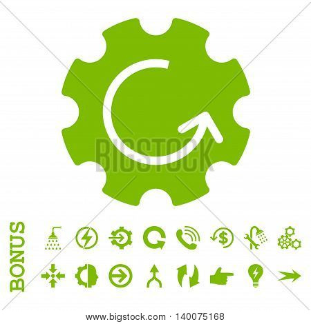 Gear Rotation glyph icon. Image style is a flat iconic symbol, eco green color, white background.