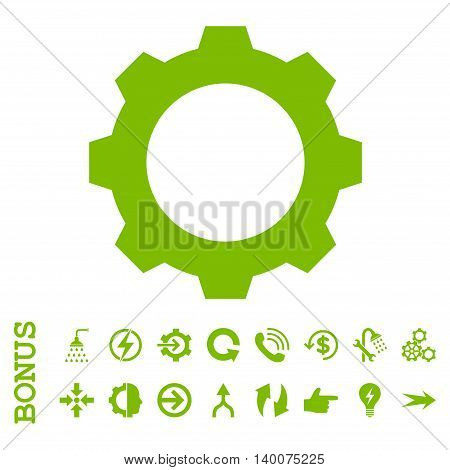 Gear glyph icon. Image style is a flat iconic symbol, eco green color, white background.