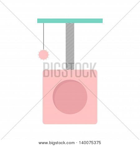 Scrathing rope post. Cat square house with hanging ball toy. Isolated. White background. Pink and blue color. Flat design. Vector illustration