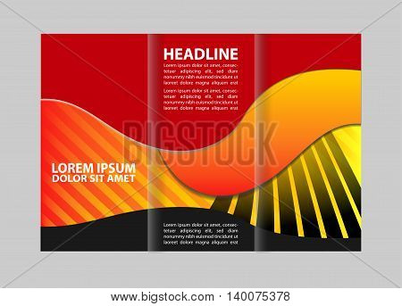 Tri fold pizza store brochure template design vector illustration