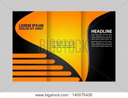 Brochure mock up design template for business, education, advertisement. Trifold booklet editable printable vector illustration.
