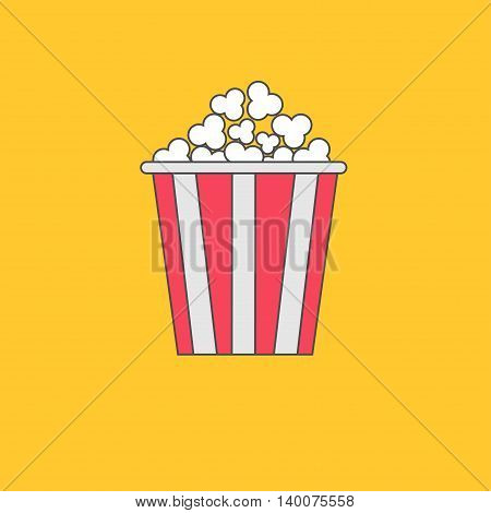 Popcorn box. Cinema movie line icon in flat design style. Yellow background. Vector illustration
