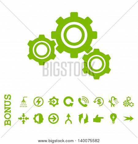 Gears glyph icon. Image style is a flat pictogram symbol, eco green color, white background.