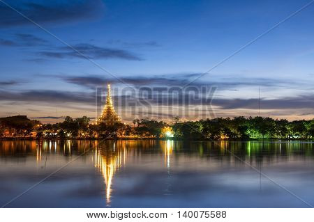 Lanscape phra mahathat kaen nakhon temple in Twilight Time