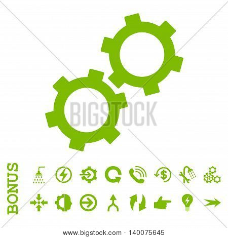 Gears glyph icon. Image style is a flat iconic symbol, eco green color, white background.